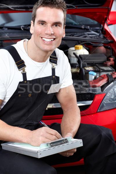 タブレット 自動車修理 サービス 紙 手 ストックフォト © Kurhan