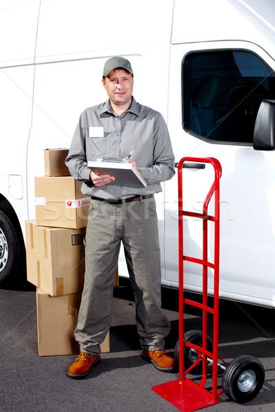 Teslim posta adam mutlu profesyonel nakliye Stok fotoğraf © Kurhan