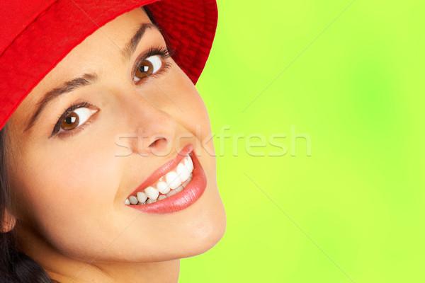 Vrouw glimlach gezicht glimlachende vrouw groene vrouwen Stockfoto © Kurhan