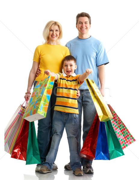 Foto stock: Família · compras · isolado · branco · mulher · sorrir