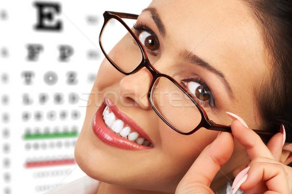 женщину красивой молодые улыбающаяся женщина очки бизнеса Сток-фото © Kurhan