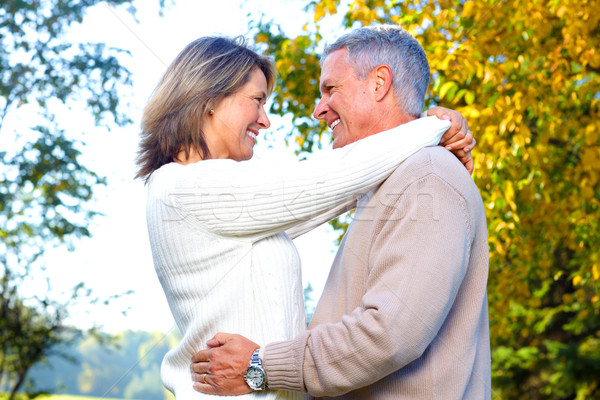 Stock foto: Senioren · Paar · glücklich · ältere · Park · Liebe