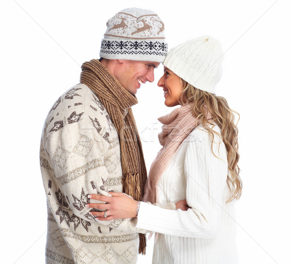 Mutlu Noel çift kış giyim yalıtılmış Stok fotoğraf © Kurhan