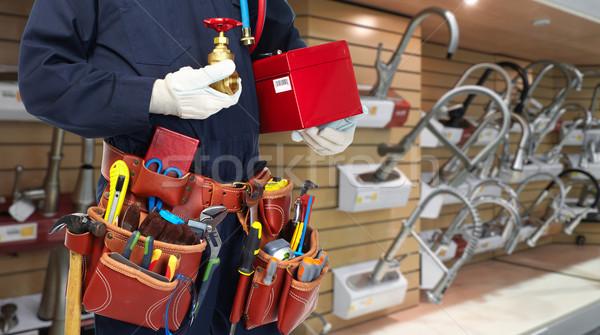водопроводчика рук водопроводный кран сантехники инструменты стороны Сток-фото © Kurhan