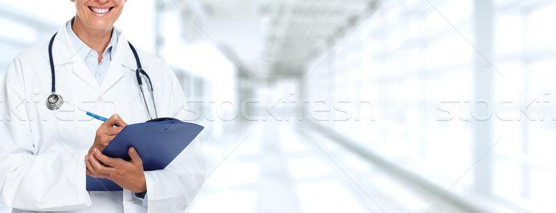 Stock fotó: Kezek · orvosi · orvos · nő · vágólap · mosoly