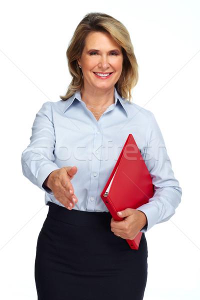 Stockfoto: Senior · zakenvrouw · handdruk · portret · geïsoleerd · witte