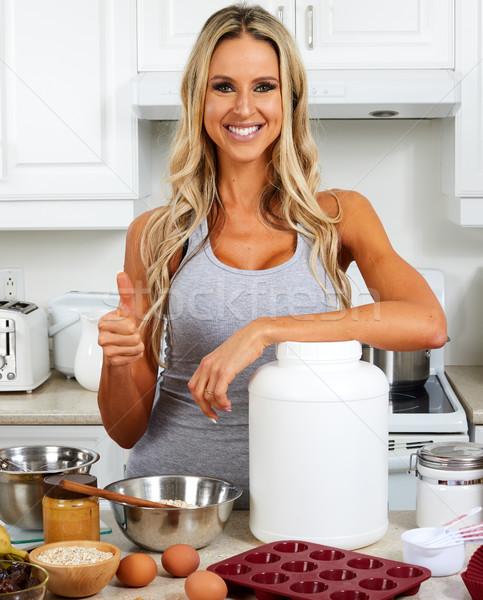 Niña feliz proteína jar jóvenes mujer sonriente naturales Foto stock © Kurhan