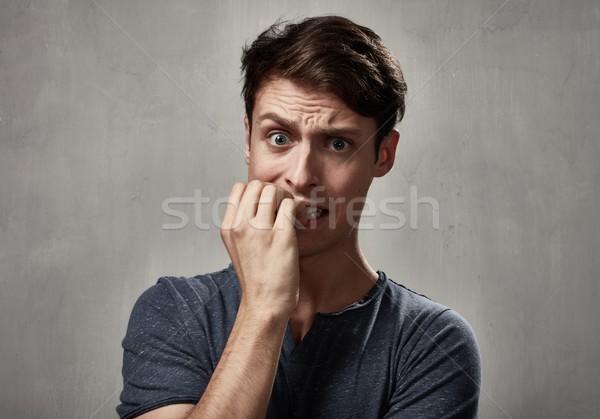 Scared man face. Stock photo © Kurhan