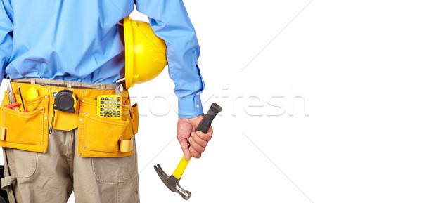 Bouwvakker helm hamer tool gordel witte Stockfoto © Kurhan