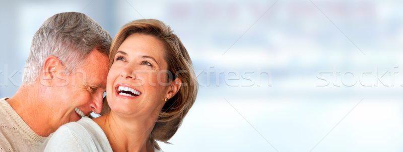 Idős pár mosolyog boldog idős pár kék Stock fotó © Kurhan