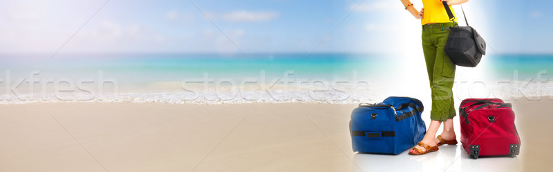 туристических багаж путешественник женщину мешки чемодан Сток-фото © Kurhan