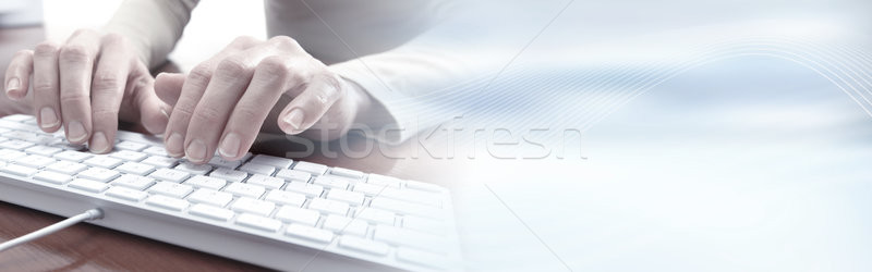 Hands typing on keyboard Stock photo © Kurhan