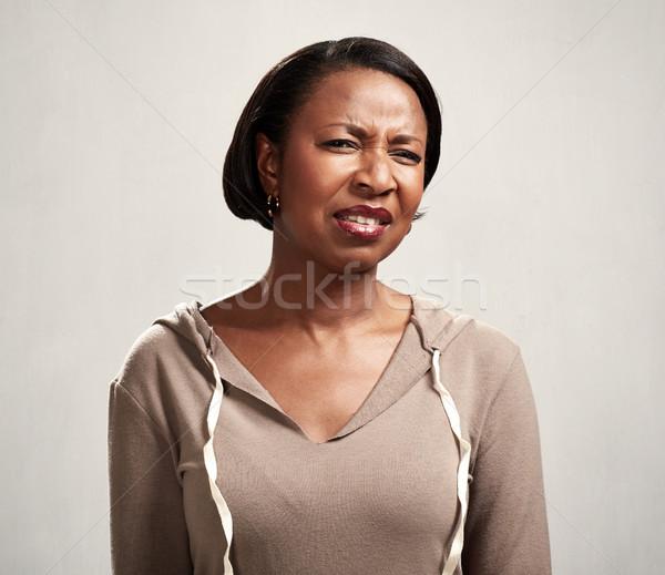 Afrikai nő afroamerikai érett nő arc háttér Stock fotó © Kurhan