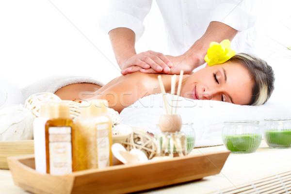 Stok fotoğraf: Spa · masaj · güzel · genç · kadın · dinlenmek · kadın