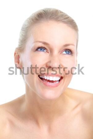 Stok fotoğraf: Genç · kadın · güzel · gülen · yalıtılmış · beyaz · kadın