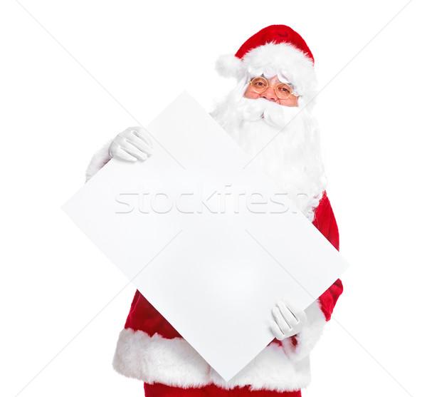 Stockfoto: Kerstman · poster · gelukkig · christmas · banner · geïsoleerd