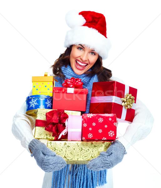 Helfer Weihnachten Mädchen präsentiert schönen Stock foto © Kurhan