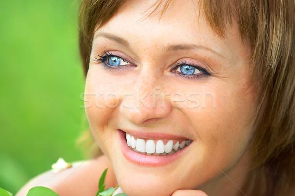 自然の美 小さな 幸せ 美しい 笑顔の女性 屋外 ストックフォト © Kurhan