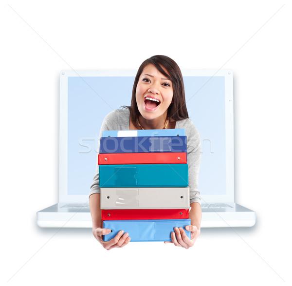 student woman and laptop Stock photo © Kurhan