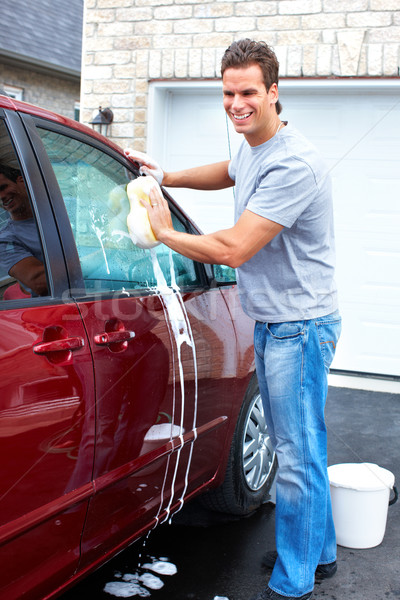 Man wassen auto glimlachend gelukkig Rood Stockfoto © Kurhan