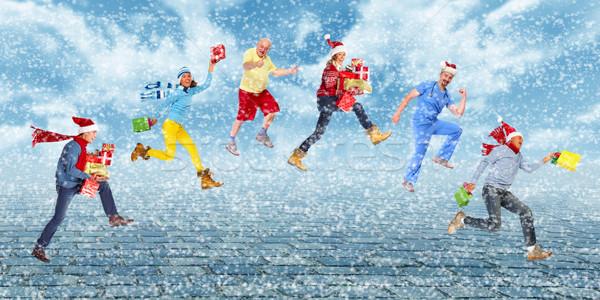 Foto stock: Feliz · corrida · natal · pessoas · família · homem