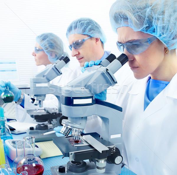 Foto stock: Laboratorio · ciencia · equipo · de · trabajo · mujer · médico