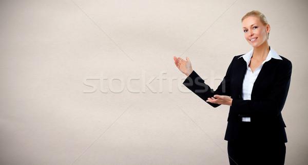 красивой деловой женщины молодые серый служба бизнеса Сток-фото © Kurhan
