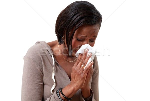 Noir femmes femme moucher froid Photo stock © Kurhan