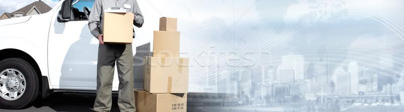 Postino pacchetto finestra scatole camion di consegna blu Foto d'archivio © Kurhan