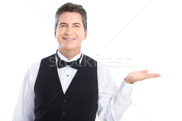 Camarero sonriendo guapo aislado blanco hombre Foto stock © Kurhan