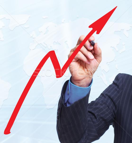 Kéz grafikon üzlet férfi toll üzletember Stock fotó © Kurhan