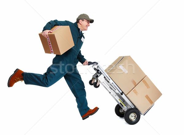 Fut házhozszállítás postás doboz izolált fehér Stock fotó © Kurhan