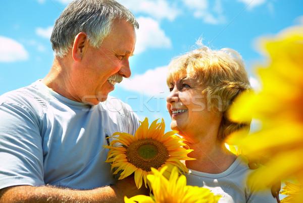 ältere Paar lächelnd glücklich Liebe Freien Stock foto © Kurhan