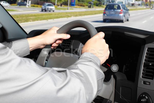 Carro motorista mãos pessoas condução entrada da garagem Foto stock © Kurhan