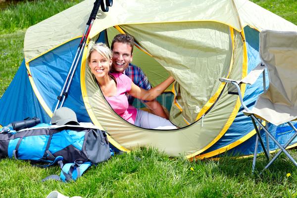 Camping felice grande tenda donna Foto d'archivio © Kurhan