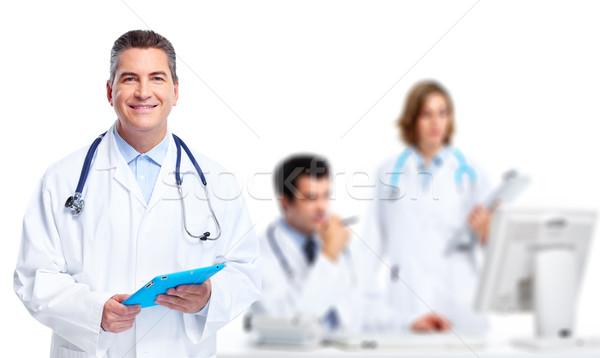 Stock fotó: Orvosi · orvos · mosolyog · férfi · izolált · fehér