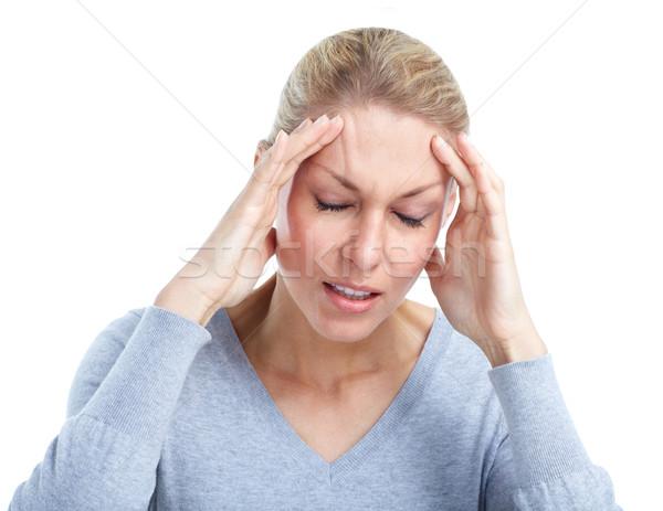 Mulher jovem dor de cabeça estresse isolado branco cara Foto stock © Kurhan