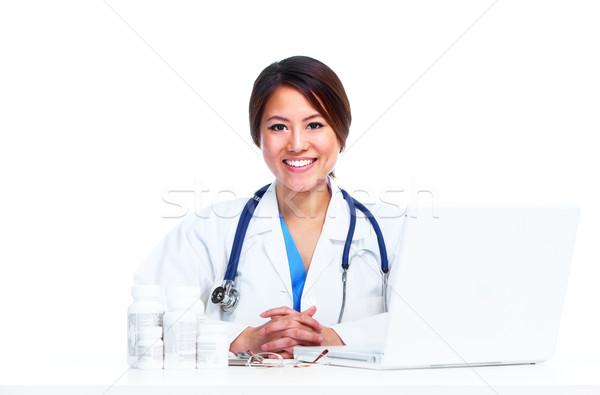 Cinese medici medico donna isolato bianco Foto d'archivio © Kurhan