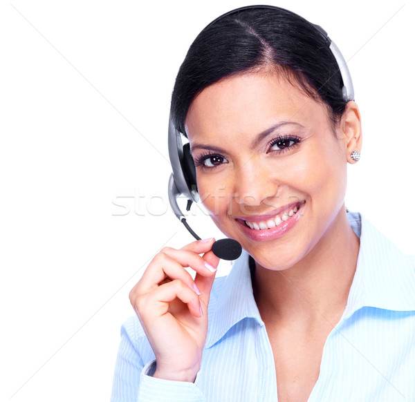 Stock photo: Call center operator business woman.