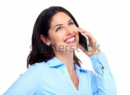 Сток-фото: женщину · сотового · телефона · изолированный · белый · модель · волос