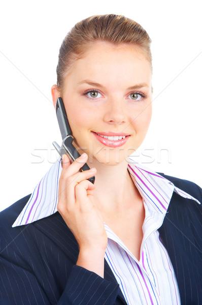 Frau zellulären jungen business woman fordern Mobiltelefon Stock foto © Kurhan