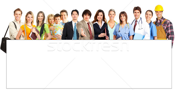 Large group of smiling people. Over white background