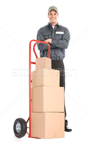 Házhozszállítás munkás kéz teherautó izolált fehér Stock fotó © Kurhan