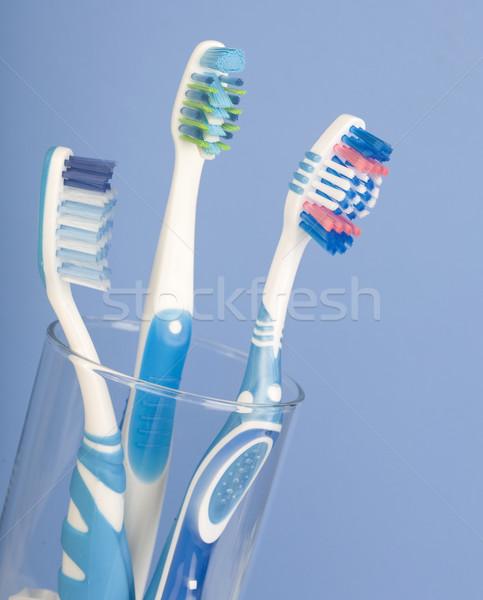Stock foto: Zahn · Hintergrund · blau · Zähne · Reinigung · Pinsel