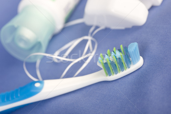 tooth brushe, paste and floss Stock photo © Kurhan