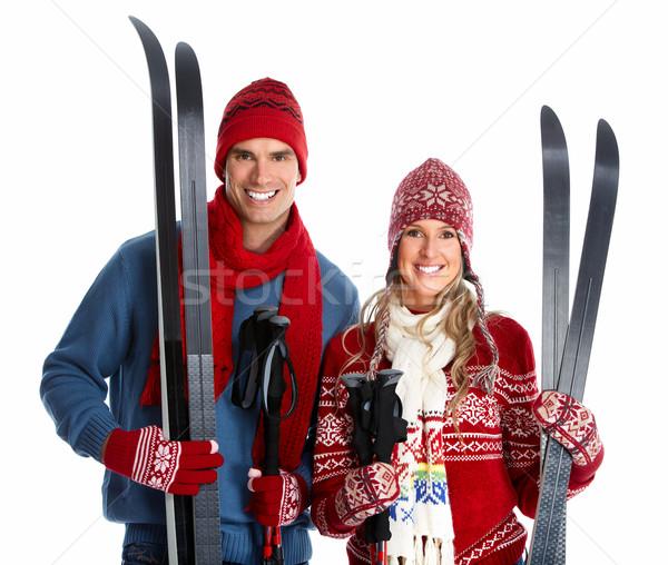 Happy christmas couple with ski. Stock photo © Kurhan