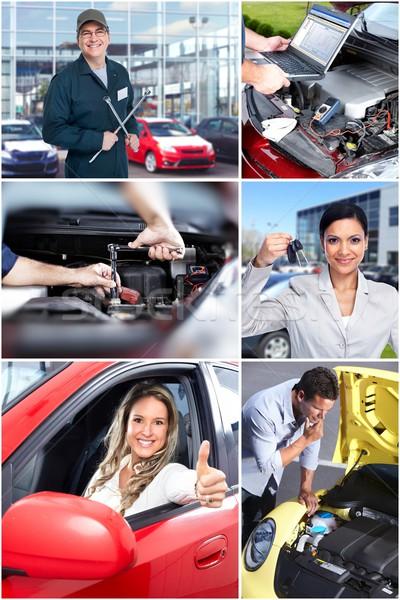 自動車修理 コラージュ メカニック レンチ ガレージ 車 ストックフォト © Kurhan