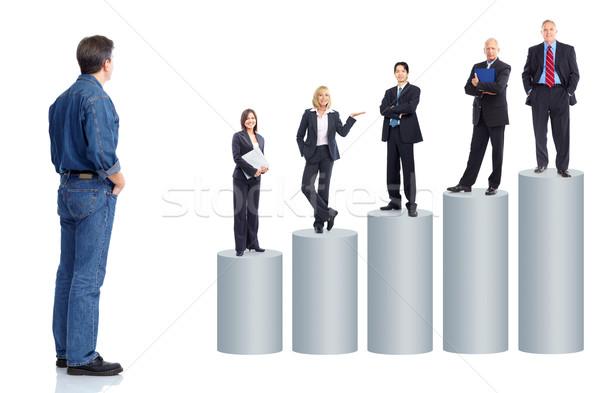 Сток-фото: деловые · люди · команда · графа · изолированный · белый · улыбка