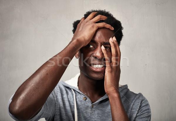 Depresyon siyah adam bunalımlı adam baş ağrısı Stok fotoğraf © Kurhan