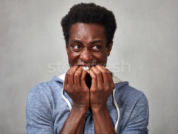 страшно черным человеком лице нервный афроамериканец человека Сток-фото © Kurhan